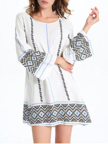 Affordable Stylish Geometric Print Women's Shift Dress - M WHITE Mobile