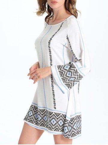 Sale Stylish Geometric Print Women's Shift Dress - M WHITE Mobile