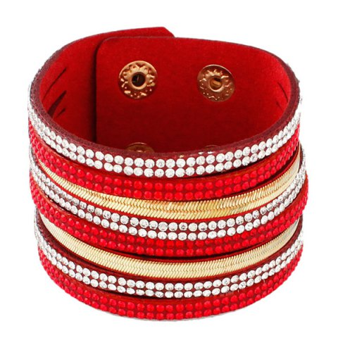Affordable Vintage Faux Leather Layered Rhinestone Wrap Bracelet RED