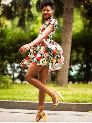Shops Retro Style Sweetheart Neck Short Sleeve Floral and Figure Printed High Waist Mini Dress For Women
