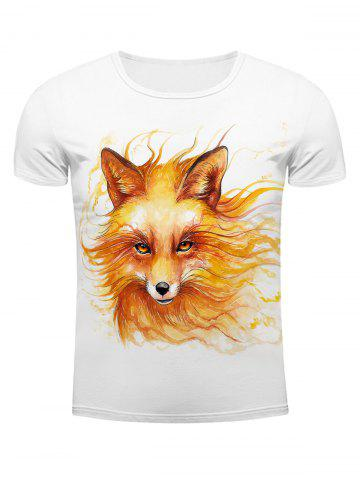 Outfits White Round Neck Cool Wolf Head Pattern Slimming Short Sleeves 3D T-Shirt For Men WHITE 2XL