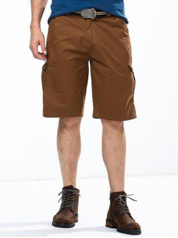 Shops Summer Straight Leg Multi-Pocket Solid Color Fitted Zipper Fly Cargo Shorts For Men