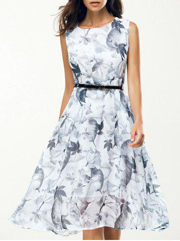 Sale Jewel Neck Sleeveless Floral Print A Line Belted Dress WHITE L