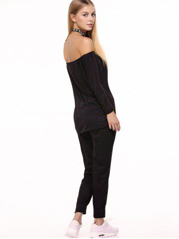 Latest Off Shoulder Top with Drawstring Running Jogger Pants - XL BLACK Mobile