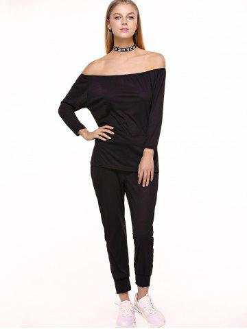 Chic Off Shoulder Top with Drawstring Running Jogger Pants - XL BLACK Mobile