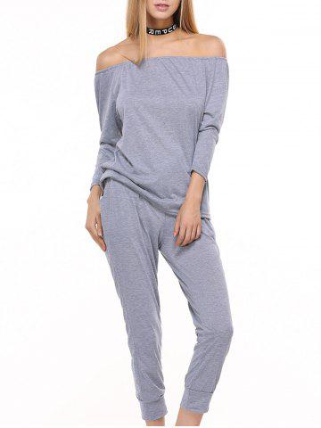 Sporty Off The Shoulder Top et pantalon Drawstring Twinset Gris L