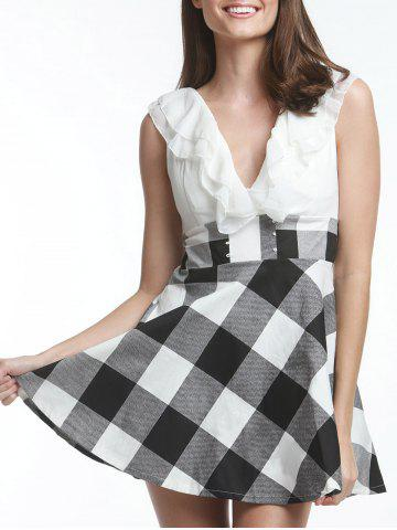 Fashion Sweet V-Neck Checked Lace-Up Selvedge Design Women's Dress WHITE ONE SIZE