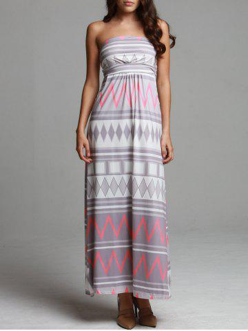 Online Maxi Geometric Print Strapless Bohemian Beach Dress - L COLORMIX Mobile