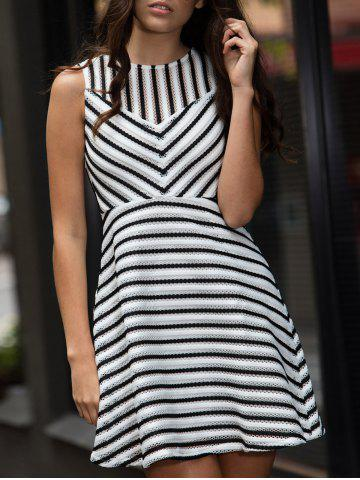 Affordable Stripe Mesh A Line Sleeveless Dress WHITE M