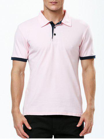 Refreshing Turn-down Collar Purfled Fitted Short Sleeves T-Shirt For Men