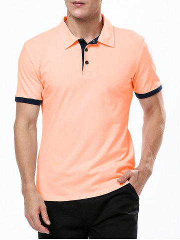 Refreshing Turn-down Collar Purfled Fitted Short Sleeves T-Shirt For Men - ORANGE - M