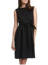 Vintage Boat Neck Sleeveless Solid Color Self-Tie Women's Dress