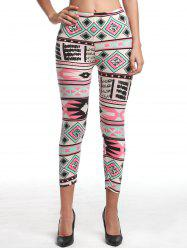Chic Women's High Waist Geometrical Print Hit Color Capri Leggings - COLORMIX