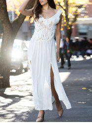 V-Neck Sleeveless Lace Furcal Long Cover-Up Dress - WHITE