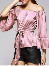 Off The Shoulder Belted Bell Sleeve Pleated Blouse