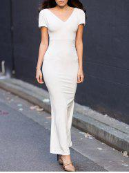 Off-The-Shoulder Short Sleeve Jersey Maxi Dress - WHITE