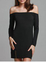 Off-The-Shoulder Zipper Plain Bodycon Dress - BLACK