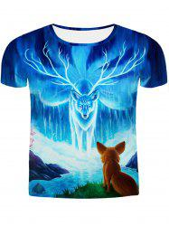 Hot Sale Round Neck 3D Animal Printing Slimming Short Sleeves T-Shirt For Men - COLORMIX 2XL