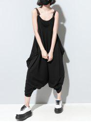 Fashionable Pocket Design Loose-Fitting Solid Color Women's Jumpsuit -