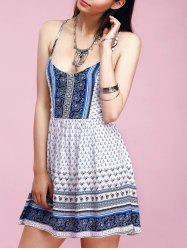 Charming Spaghetti Strap Ornate Printed Criss-Cross Backless Women's Dress -
