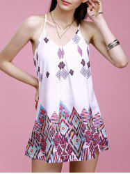 Spaghetti Strap Geometric Print Summer Dress - WHITE