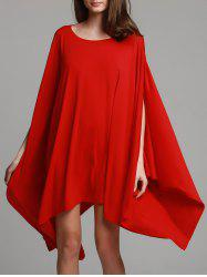 Fashionable Solid Color 1/2 Batwing Sleeve Asymmetric Loose Top For Women