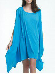Charming Solid Color 1/2 Batwing Sleeve Asymmetric Loose Top For Women -
