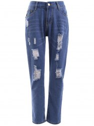High Waist Ripped Raw Hem Jeans -