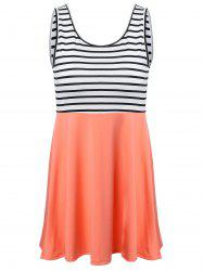 Striped Trim Summer Dress - COLORMIX
