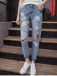Fashionable Busted Knee Pockets Ripped Jeans For Women