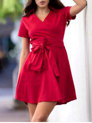 Retro Style V-Neck Pure Color Short Sleeve Ball Dress For Women