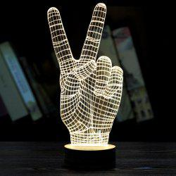 Creative Décoration Victory Gesture Forme LED Night Light - Jaunâtre