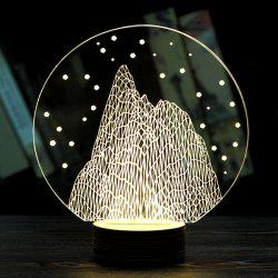 Forme Creative Décoration Round Snow Mountain LED Night Light - Jaunâtre