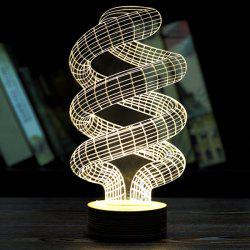Creative Home Decoration 3D Spiral Pipe Shape LED Night Light - LIGHT YELLOW