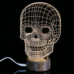 Creative Home Decoration Skull 3D Shape LED Night Light - Jaunâtre