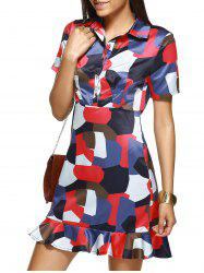 Shirt Collar Flounced Graphic Dress -