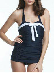 Alluring Color Block Halter Neck Women's One Piece Swimsuit -