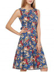 Retro Style Floral Print Back Lace-Up Dress