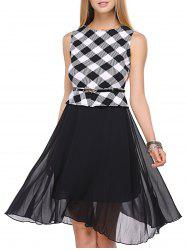 False Two Pieces Check Plaid Tie Belt Splicing Dress