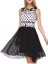 False Two Pieces Polka Dot Floral Pattern Tie Belt Dress - WHITE AND BLACK