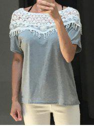 Lace Cut Out Crochet Cape Collar Batwing Sleeve T-Shirt -