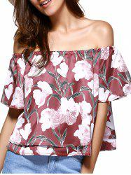 Off The Shoulder Floral Pattern Layered Blouse -