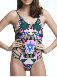 Fashionable Print Cut Out Backless Swimwear For Women -