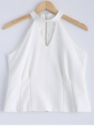 Stylish Solid Color Jewel Neck Cut Out Zipper Fly Sleeveless Top For Women -