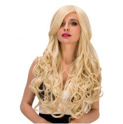 Charming Long Side Bang Capless Fluffy Wave Light Blonde Synthetic Wig For Women