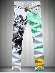 White Color Printed Straight Leg Jeans For Men - WHITE
