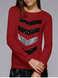 Long Sleeve Sequins Spliced Sweatshirt