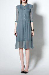 Single Breasted See-Through Sheer Midi Shirt Dress -