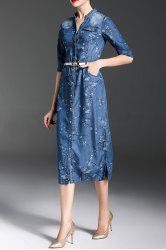 Floral Sheath Denim Dress -