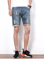 Hole Design Straight Leg Cropped Shorts For Men